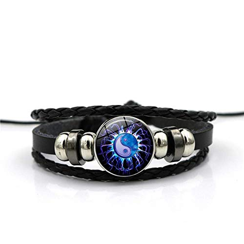WYZQ Bracelet Blue creative Chinese Tai Chi Time gemstone bracelet multi-layer woven black leather handmade beaded European and American personality fashion jewelry Jewellery