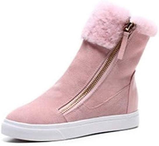 Yanyan Bottines pour Les Les dames Bottes Mode zippées Martin Bottes d 'Hiver épaisses et Chaudes Bottes de Neige Bottes de Neige Chaussures de Ville pour Femmes Chaussures Noir