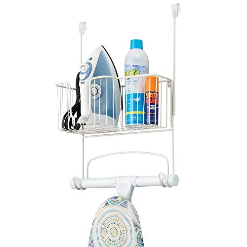 mDesign Metal Over Door Ironing Board Holder with Large Storage Basket - Holds Iron, Board, Spray...