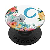 Pretty Elephant Baby With Flowers Monogram Initial Letter C PopSockets PopGrip: Swappable Grip for Phones & Tablets