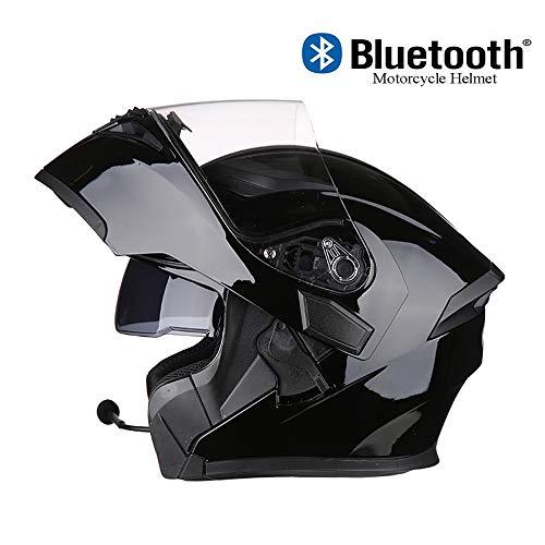 HELMT Motorrad-Baukastenhelm Motorrad-Bluetooth-Helm Aufklappbarer Motorradhelm mit Anti-Fog-Doppelspiegel Aufklappbarer Integralhelm für Erwachsene Männer Women-D.O.T Approved,Brightblack,M