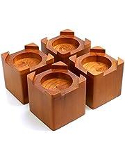 Design61 4-delige bedverhoging, echt hout, meubelverhoger, meubelverhoger, bedverhoging, tafelverhoger, olifantenvoet, bed riser