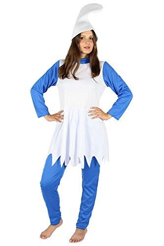 Foxxeo Blaue Zwergin Kostüm für Damen Karneval Fasching Märchen blau weiße Mütze Größe XL
