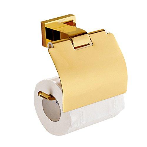 Weare Home Toilettenpapierhalter Klorollenhalter mit Deckel Wasserdicht aus Messing Modern Luxus Poliert Gold finished Deko Wandhalterung Bohren Wandmontag Badezimmerzubehör