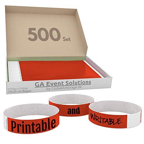 500 Eintrittsbänder aus Tyvek zum selbst gestalten und bedrucken in Rot von GA Event Solutions - Party Einlassbänder, Festival Armbänder für dein Event