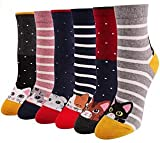 Chalier 6 Paar Socken Damen Lustige Bunte Socken Lange Baumwollsocken, Katzen Und H&esocken (Elfenbein)