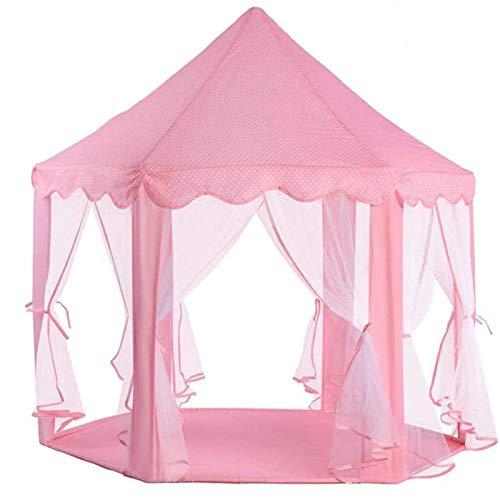 Dfghbn Kinderzelt Kinder Spielen Haus Faltbare Prinzessin Burg Mädchen Spielhaus Große Größe Mongolisches Zelt Prinzessin Castle Playhouse (Farbe : Pink, Size : 140×135 cm)