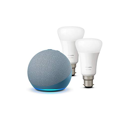 Photo of All-new Echo Dot (4th generation), Twilight Blue + Philips Hue White Smart Bulb Twin Pack LED (B22) | Bluetooth & ZigBee compatible (no hub required)