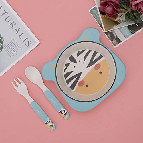 FOLOSAFENAR Vajilla con patrón de Animales de Dibujos Animados, 3 Piezas, vajilla para niños, para Ayudar a Formar un Buen hábito alimenticio para bebés /(Zebra, Three-Piece Suit)
