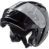 Nexo Klapphelm Motorradhelm Helm Motorrad Mopedhelm Basic II, Thermoplasthelm mit Sonnenblende, klares, kratzfestes Visier, 1.550 g, mehrfache Be- und Entlüftung, Ratschenverschluss, Schwarz, XS