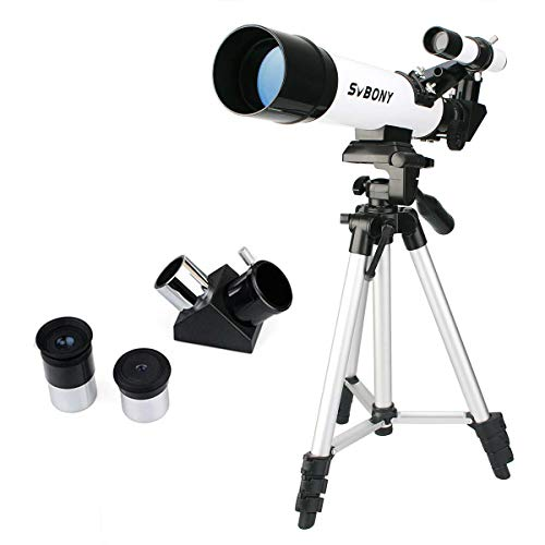 SVBONY SV25 Refractor Telescopes 60mm Travel Scope 420mm Focal Length for Kids Children Educational Astronomy Beginners with Aluminum Tripod and Optical Finder Scope