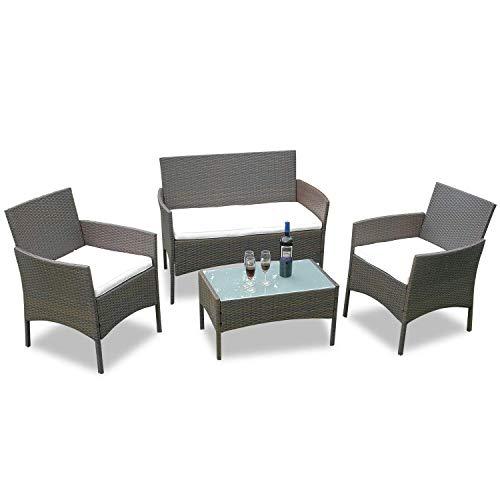 Hengda Conjunto Muebles de jardín Muebles Ratán Juego para Terraza o Balcón Sofá 2 Plazas + 2...
