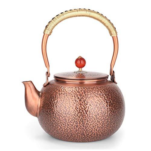 Teakettles/Tea Kettle Hammered Copper Tea Kettle with Brass Spout and Comfortable Handle Kettle Retro Design Copper Teapot 1.6 Quart for Tea Coffee Stovetop Whistling Teakettle Teapot