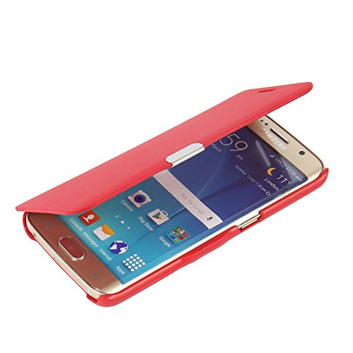 MTRONX Cover Samsung Galaxy S6 Edge, Custodia Case Ultra Folio Flip Stile Pelle Libro con Magnetic Closure Paraurti per Samsung Galaxy S6 Edge - Rosso(MG-RD)