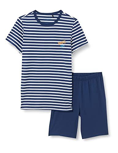 Schiesser Jungen kurzer Schlafanzug - Organic Cotton, blau, 176