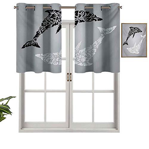 Hiiiman Cortinas con ojales, diseño subacuático monocromático con detalles florales sobre fondo de escala de grises, juego de 2, 42 x 24 pulgadas para ventana de cocina