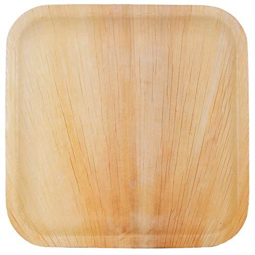 Palm Dishes Palmblattteller 25/100/200 Stück Einwegteller eckig 25x25 cm / 20x20cm / 15x15cm, aus Palmblatt 100% kompostierbar, umweltfreundlich Palmblattgeschirr Set für BBQ, Party, Grillen Outdoor