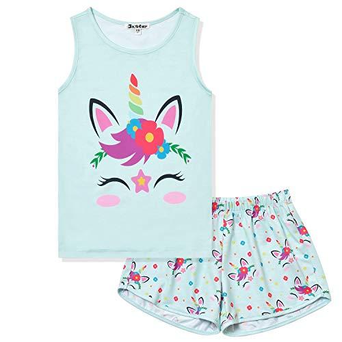 Jxstar Pajamas for Girls Unicorn Face Pjs Sets Sleeveless Kids Summer Sleepwear Clothes