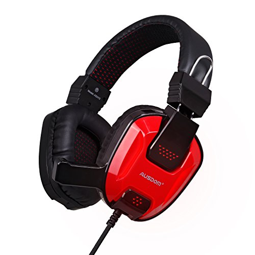PC Gaming PS4 Headsets, AUSDOM AGH15 40mm Loudspeaker Hi-Fi Surround Sound Over Ear Headphones, LED Light Noise Cancelling with Built-in Mic, Hands-free Comfortable Earbuds with Audio Y Cable