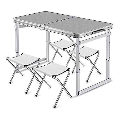 Pliable Aluminium Camp Table, en Toute sécurité Compact Robuste Table Camping 4 Chaise jusqu'à 50 kg 120 x 60 cm Bureau de Cuisine pour Garden Beach intérieur,Argent