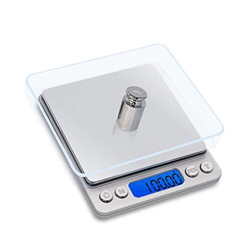 Mengshen Escala de joyería Digital/Escala de Alimentos de Cocina 1.1lb / 500g (0.01g), Escala de Bolsillo de miligramo de Alta precisión Sensible Pantalla retroiluminada portátil de Acero Inoxidable