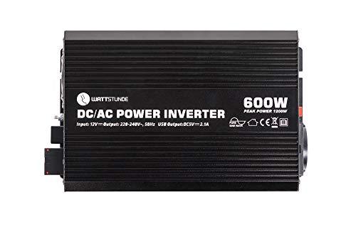 WATTSTUNDE WS12/600SI Wechselrichter 12v auf 230v - 600W / 1200W reiner Sinus Spannungswandler (600)
