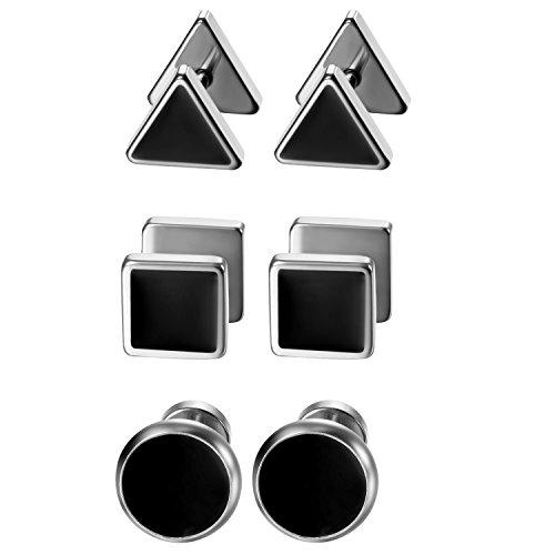 Aroncent 3 Paare Herren Ohrstecker Set Edelstahl Emaille Runde Dreieck Quadrat Fakeplugs Fake Ohr-Plug Ohrringe Tunnel Piercing Silber Schwarz
