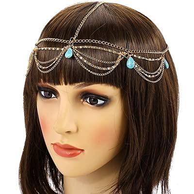 feilai Cadena de pelo con borlas doradas, accesorios para el cabello para mujer, colgante de gota de agua de cristal para boda, joyería de novia (color de metal: turquesa H0020D)