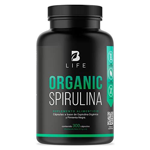 Spirulina Organica de 300 Cápsulas 500mg, Alga Espirulina. B Life Organic Spirulina