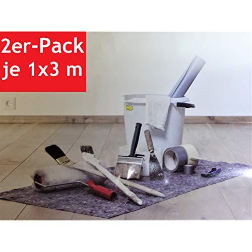 Doratex 2X schildersvlies afdekvliesfolie met folie onderkant elk 3x1m absorberend op maat te snijden