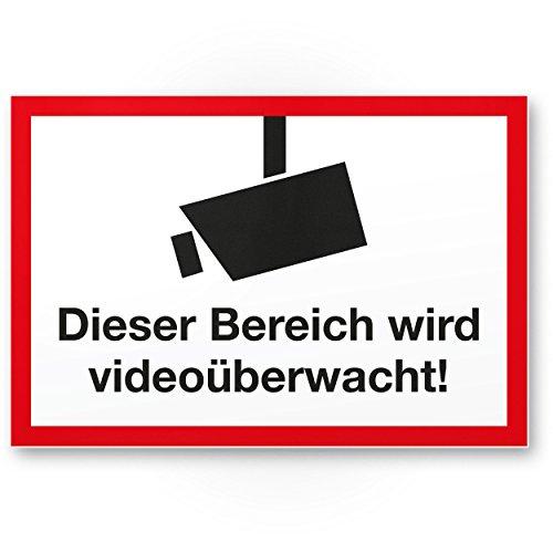 gebied wordt videobewaking kunststof plaat (wit-rood), waarschuwingsbord binnen/buiten, waarschuwing videobewaking inbraakbeveiliging, waarschuwing preventie van inbraak, afschrikking