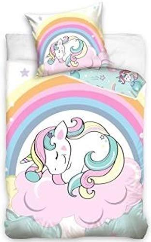 CT Unicorn - Juego de cama (funda de edredón de 135 x 200 cm, funda de almohada de 70 x 80 cm, 100% algodón), diseño de unicornio