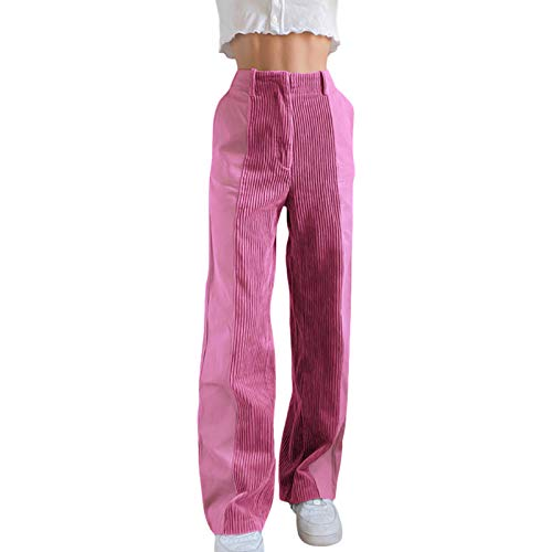 Carolilly Damen Hose Cord Straight Hose Retro Haremshose Patchwork Streetwear High Waist Hose Stretch Push Up Fit für Frauen (Rosa, M)
