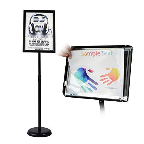 T-SIGN Adjustable Pedestal Poster Stand Aluminum Snap Open Frame for 11 x 17 Inch, Vertical and Horizontal View Sign Displayed, Black, Round Base