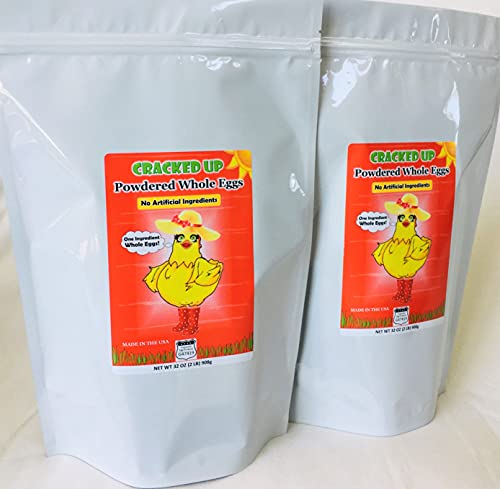 Whole Powdered Eggs, 2-Pack, 4 Pounds (64oz), BEST PRICES AND FRESHEST EGGS!, Camping, Emergency, Survival, 140 Large Eggs, Farm Fresh From Iowa, RESEALABLE POUCH