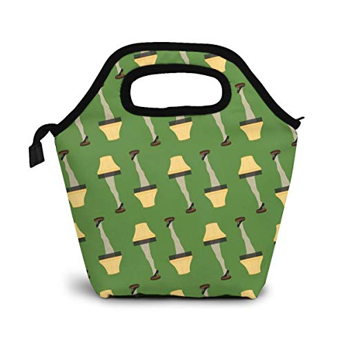 TUYUFBAGS Weihnachten Retro Bein Lampe Lunch Tasche Isolierte Thermo Kühler Lunch Bag wasserdichte Lunch Handtaschen Tote mit Reißverschluss für Outdoor-Reise Picknick