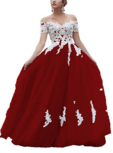 Mauwey Women's Off Shoulder Wedding Dress for Bride 2020 Sweetheart Lace Applique Tulle Evening Gowns Burgundy US4