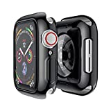 HAOBEI Screen Cover Compatible for Apple Watch Band 38mm 40mm 42mm 44mm Women Men, Soft All-around TPU Bumper Screen Protector for IWatch Series SE 6 5 4 3 2 1,black,44mm series 654 SE