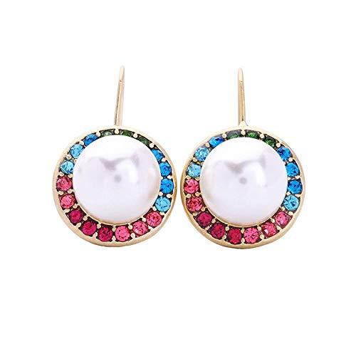 E-Z Elegante Simplicidad Idea de Regalo para Mujer Pendientes Redondos Joyas de Moda de Europa Y Estados Unidos, Taladro de Inserción de Color Corto Y Fresco Perla Adornos de Oreja
