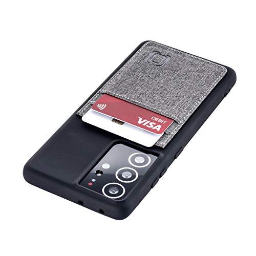 Dockem Custodia a Portafoglio per Galaxy S21 Ultra: Sottile Porta Carte di Credito con Piastra Metallica Integrata per Supporto Magnetico: Serie M [6.8' Luxe M2T, Nero e Grigio]