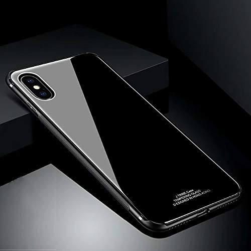 Hard Rigid Tempered Glass Back Cover for iPhone X, Aearl Pure Color Crystal Clear Rear Back Glass Plastic Interior Dual Layer Anti Slip TPU Silicone Bumper Case Screen Protector for iPhone X-Black