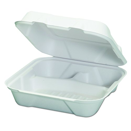 Genpak HF203 Harvest Fiber Hinged Containers, White, 9 x 9 x 3, 50/Bag (Case of 4 Bags)