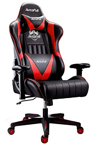 AutoFull Gaming Chair Racing Style Ergonomic High Back Computer Chair with Height Adjustment, Headrest and Lumbar Support E-Sports Swivel Chair,red
