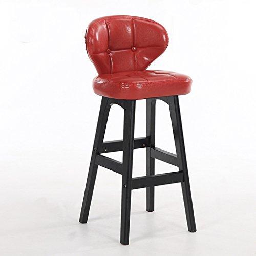 Minimaliste, bois massif, cuir artificiel coussin bar réception européenne chaise en bois banc Vintage tabouret de bar hauteur 68cm -by BOBE SHOP (Couleur : Red, taille : B)