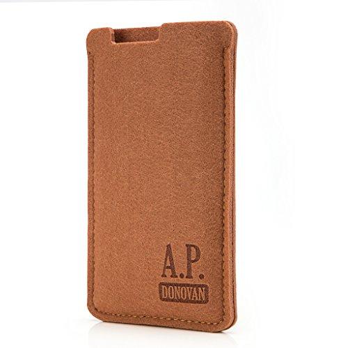 A.P. Donovan - Handytasche Schutzhülle - Filztasche Filzhülle - Handysocke aus Filz - Handy Hülle Tasche aus Stoff Sleeve - Braun - passend für iPhone 7 & 8