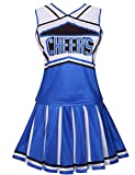 Colorful House Womens Cheerleader Costume Uniform Fancy Dress (Size L, Blue)