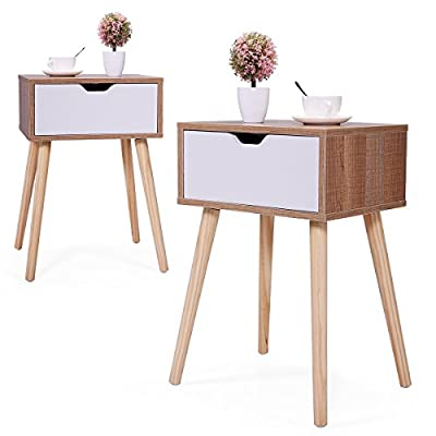 "JAXSUNNY Mid-Century Solid Wood Legs Side Table, Bedside Table Nightstand End Table, with White Storage Drawer 23.1"" H - Set of 2 in Walnut"