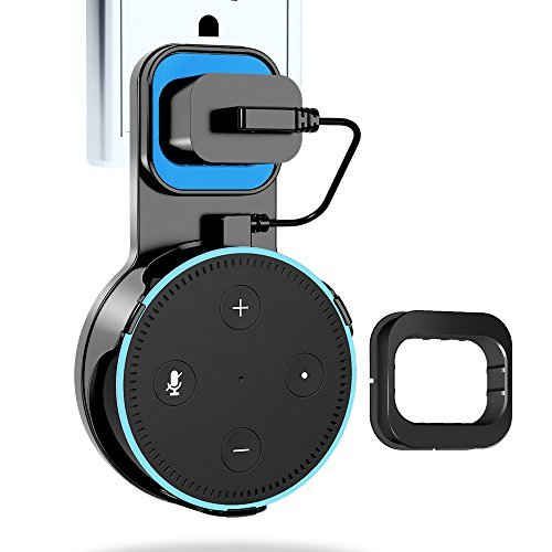 Echo Dot Wall Mount, Echo Dot Holder Hanger Stand for Amazon Alexa Echo Dot 2nd Generation, A Space-Saving Solution for Your Smart Home Speakers without Messy Wires or Screws - Black