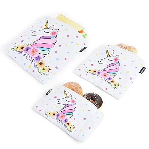 WERNNSAI Borsa a Sandwich di Unicorno - Set di 3 Riutilizzabili Sacchetti per Alimenti Borsa Porta Snack Stoffa Sacchetti Portaoggetti Borsa con Cerniera Buste per Tramezzini e Alimenti