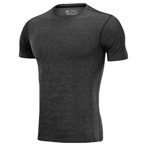 YuanDiann Homme Sport Moulant T Shirt Stretch Manche Courte Respirant Séchage Rapide Basketball Running Training Haut Col Rond Compression Baselayer Workout Tee Gris XL